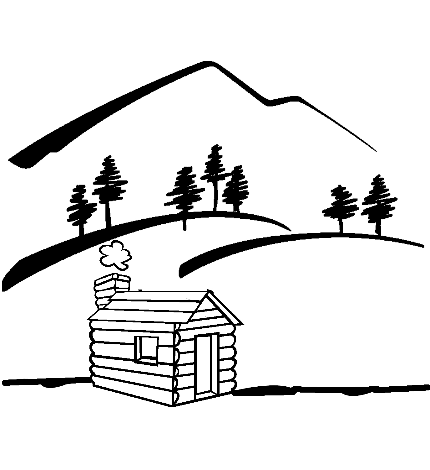 1375x1500 Mountain Scene Clipart Black And White