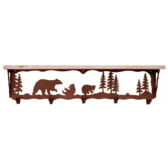 650x650 Rustic Mountain Scene 5 Hook Coat Rack