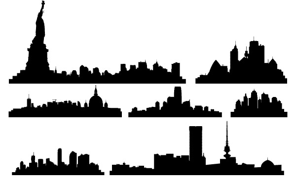 600x380 Skyline Landscape With House Vector, Free Vector Images
