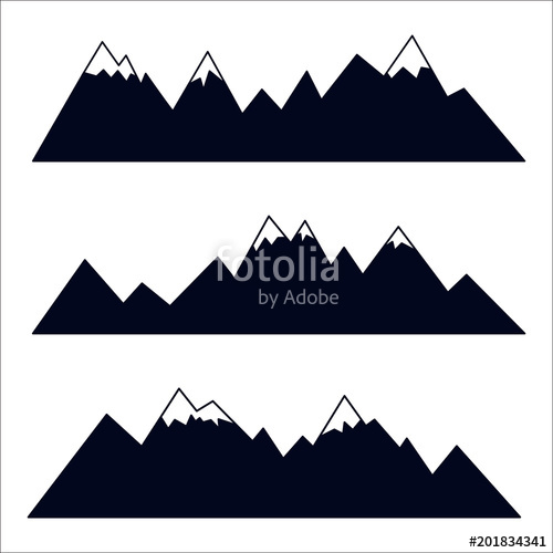 500x500 Mountain Silhouettes With Snowy Peaks. Vector Collection Of High