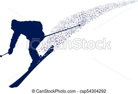 450x307 Blue Silhouette Of A Mountain Skier. Blue Silhouette Of A Eps