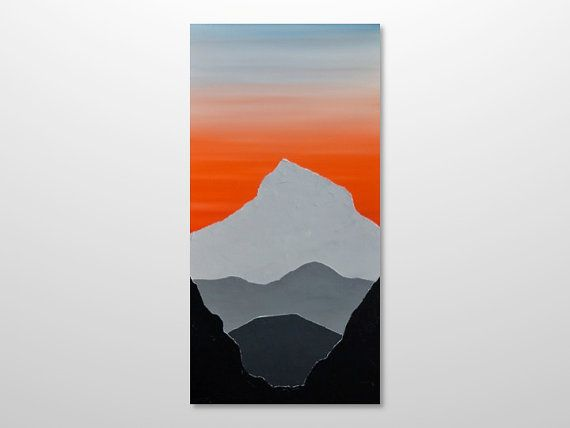 570x428 Large 18 X 36 Abstract Mountain Range Silhouette By Gilliansarah