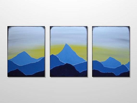 570x428 Original Large Triptych Mountain Range Silhouette Landscape