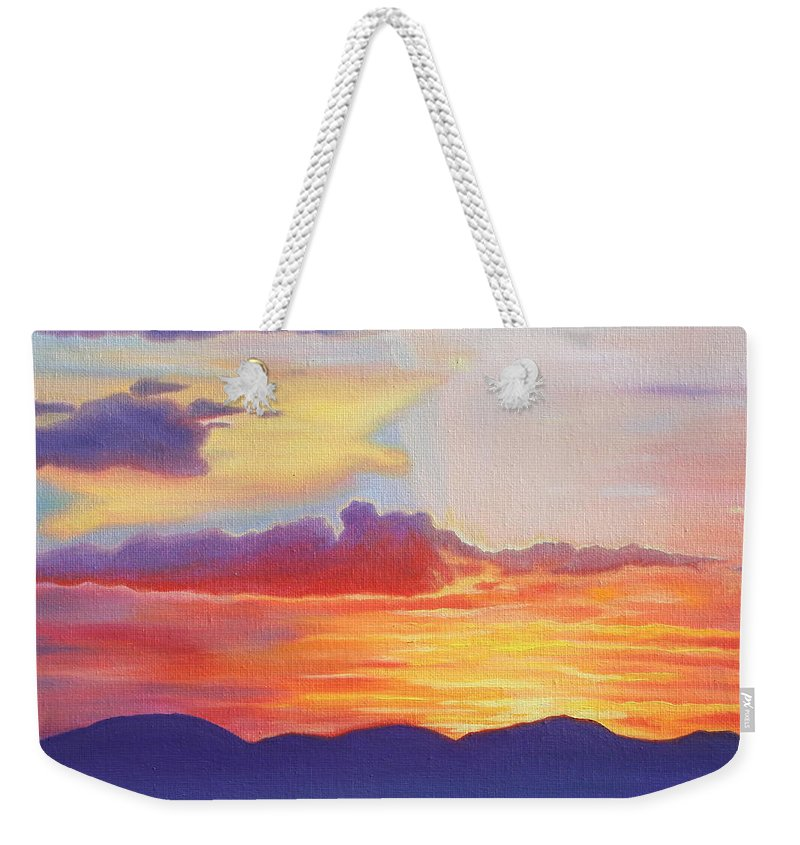 800x845 Sunset Mountain Silhouette Weekender Tote Bag For Sale By Kristine