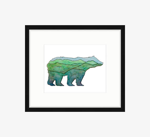 570x518 Bear Art Bear Painting Bear Silhouette Bear Print Mountain Art