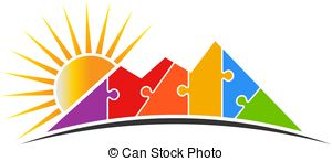 300x146 Rock Mountain Silhouette Vector Illustration With Sun. Rock