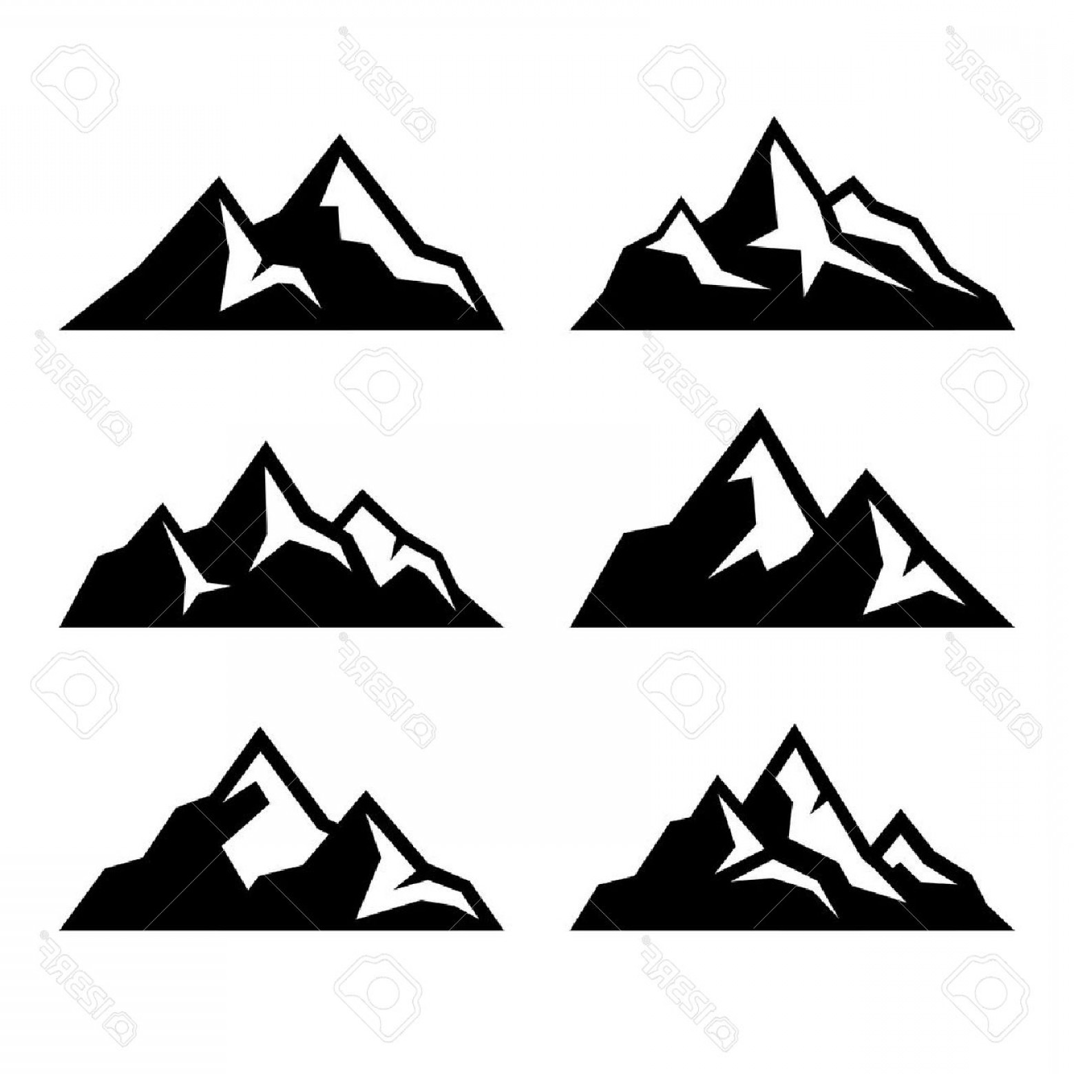 1560x1560 Photostock Vector Mountain Icons Set On White Background Vector