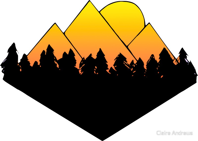 800x571 Mountains And Trees Horizon Silhouette Yellow Gradient Stickers