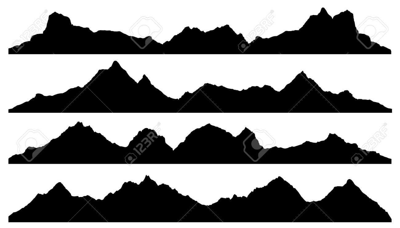 1300x742 Mountain Silhouette, Mountain Silhouettes On The White Background