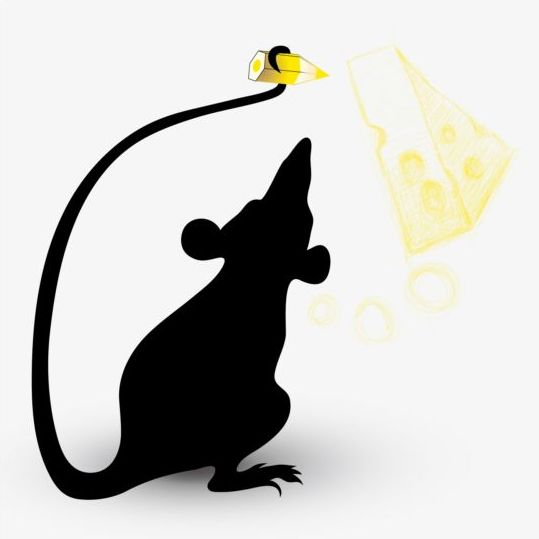 539x539 Silhouette Mouse And Cheese Vector
