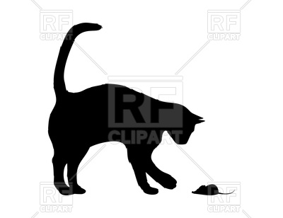 400x308 Silhouette Of Cat With Mouse Royalty Free Vector Clip Art Image