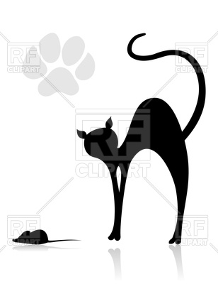 308x400 Black Cat Hunts On Mouse Royalty Free Vector Clip Art Image