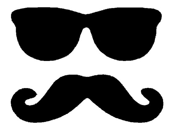 570x445 Glasses And Moustache Mustache Silhouette Applique. Instant
