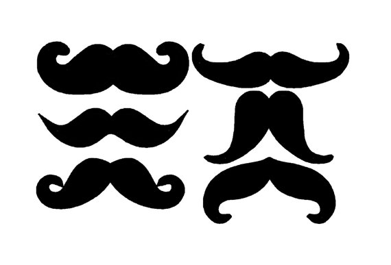 570x387 Moustache Mustache Set Of 6 Silhouette Applique. Machine