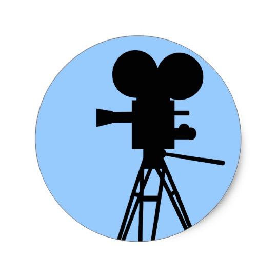 540x540 Retro Movie Camera Silhouette Stickers
