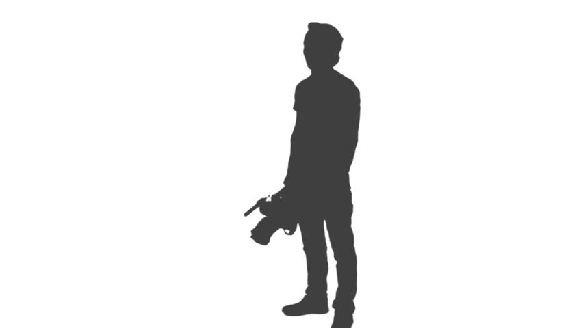 852x480 Silhouette Of Cameraman Walking With Camera And Shooting A Film