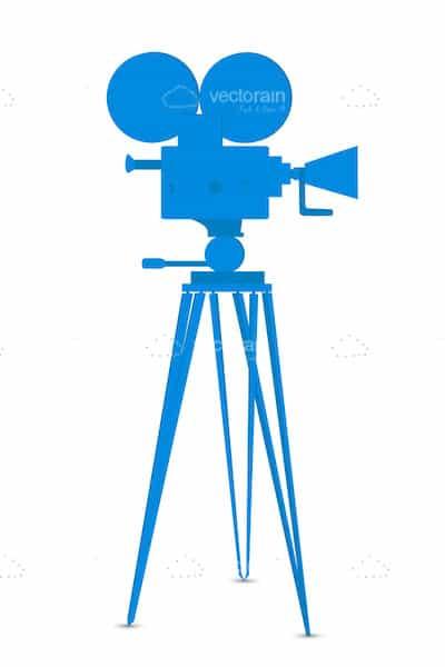400x600 Blue Silhouette Movie Camera