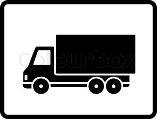 320x243 Button With Black Isolated Shipping Truck Silhouette Stock