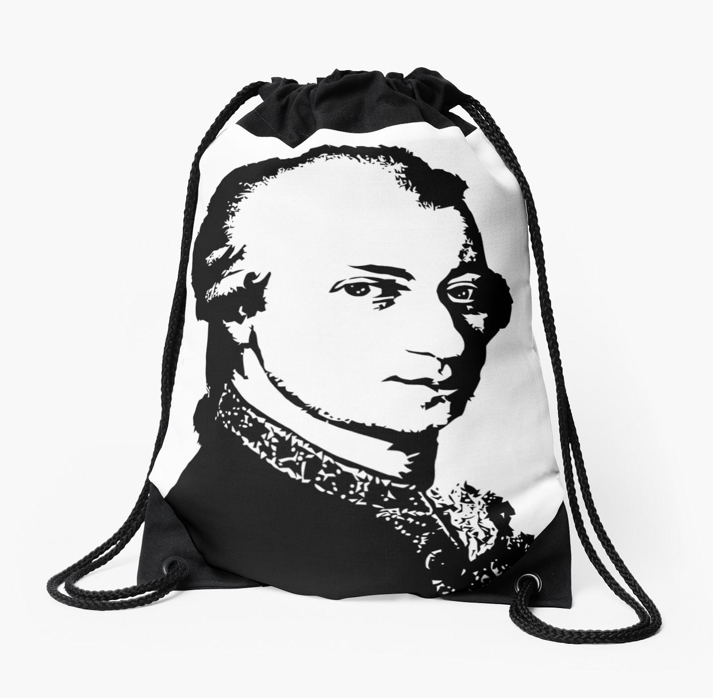1435x1404 Wolfgang Amadeus Mozart Silhouette Black And White Drawstring