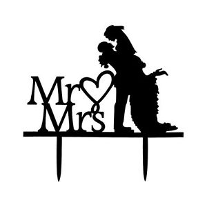 300x300 Mrampmrs Bride Groom Couple Silhouette Wedding Cake Topper