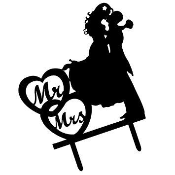 355x355 Magideal Romantic Acrylic Black Mr Amp Mrs Silhouette Cake Topper