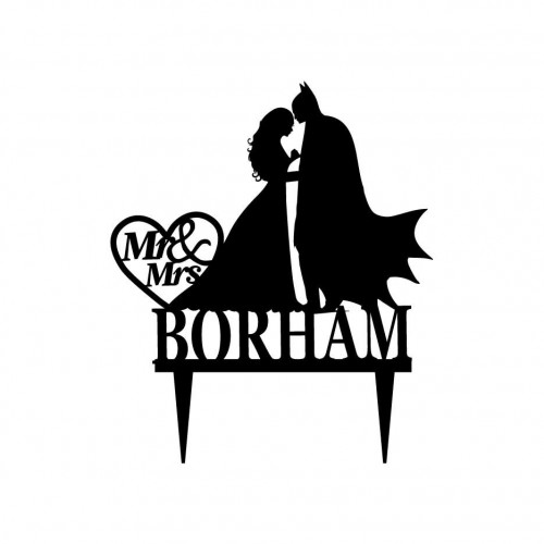 500x500 Mr And Mrs Wedding Cake Topper With Batman Silhouette