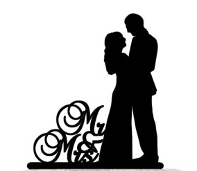 284x247 Mr Amp Mrs Couple Silhouette Cake Toppers