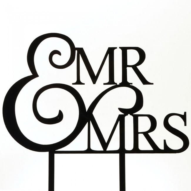 650x650 Black Mr Amp Mrs Elegant Bride Amp Groom Acrylic Wedding Day Cake