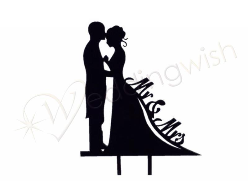 800x585 Wedding Mr And Mrs Silhouette Black Cake Pick