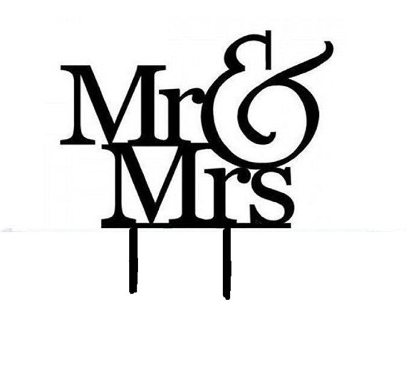 570x526 Black Plastic Acrylic Silhouette With Mr And Mrs Logo Cake