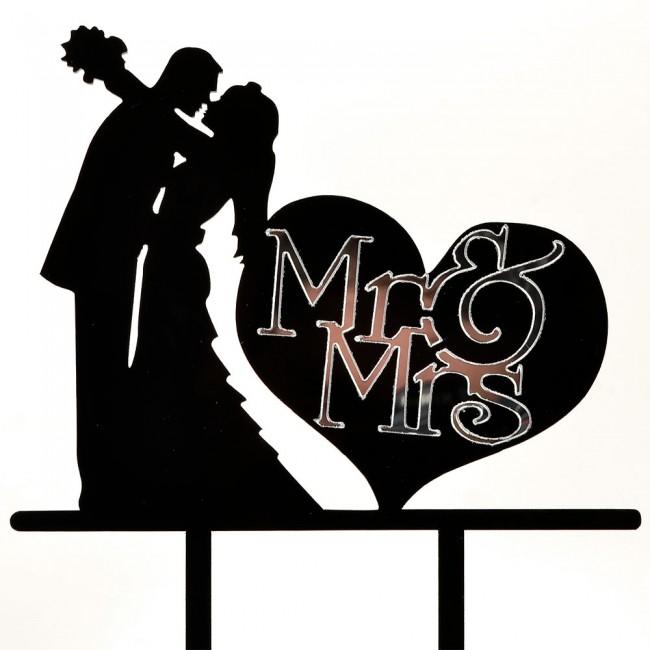 650x650 Hugging Mr Amp Mrs Love Heart Black Acrylic Wedding Day Cake Topper