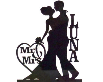 340x270 Made In Usa Mr And Mrs Silhouette Cake Topper Monogram