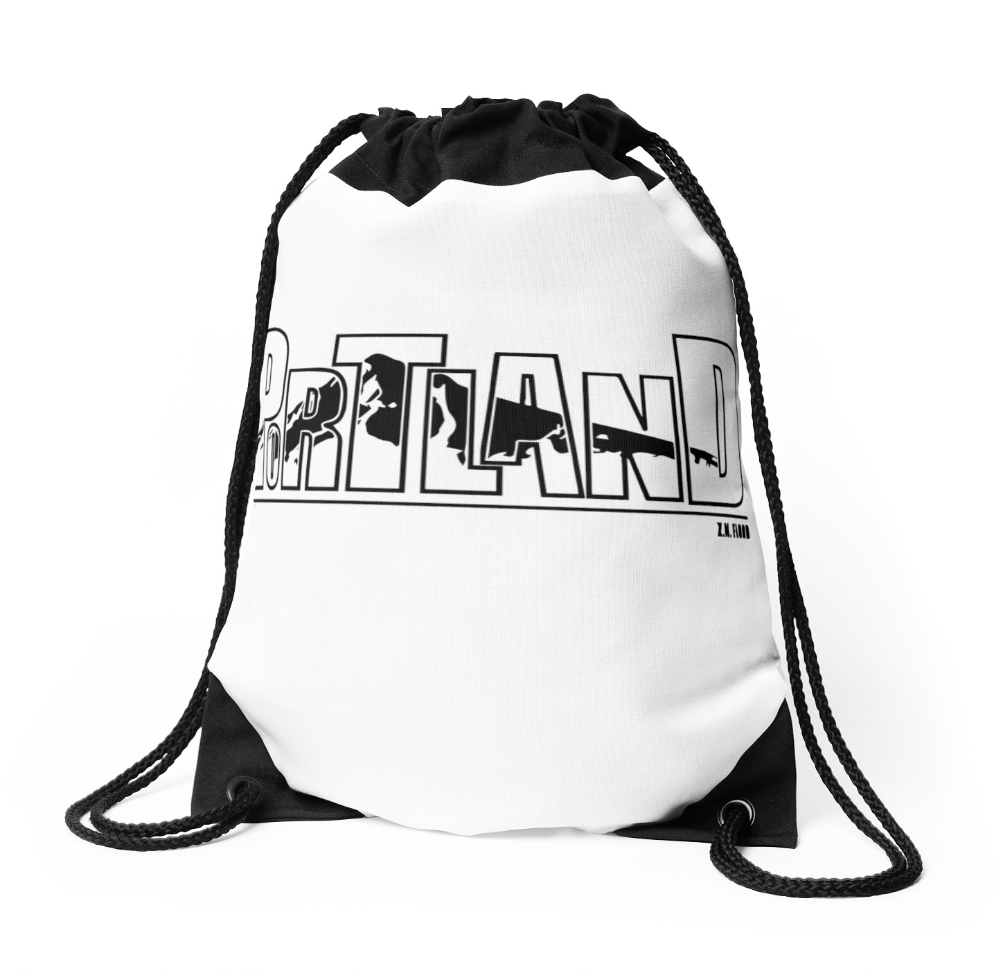 1435x1404 Portland ~ Mt. Hood Drawstring Bags By Dope Dude Redbubble