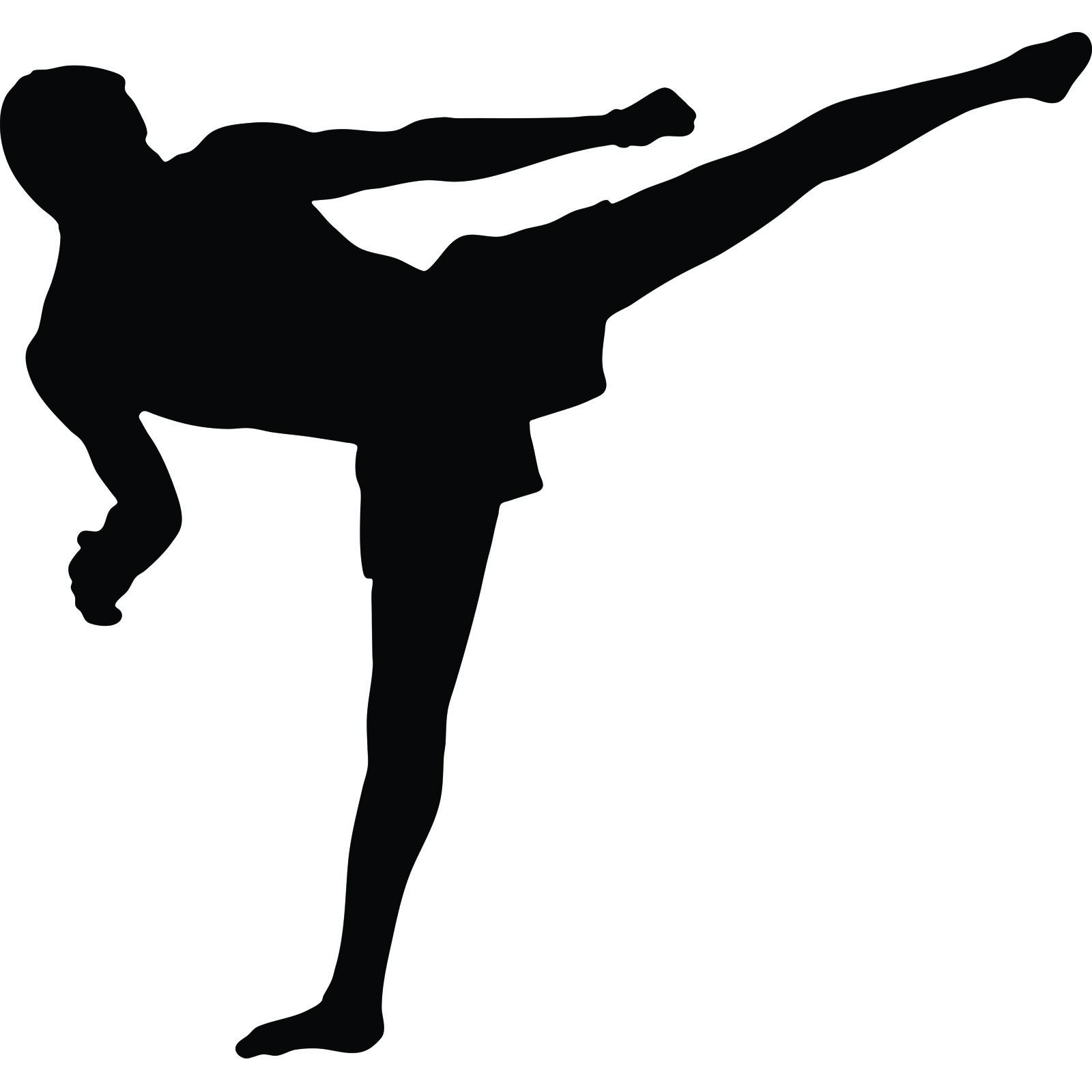1600x1600 Martial Arts Flying Kick Muay Thai Kickboxing Wall Sticker