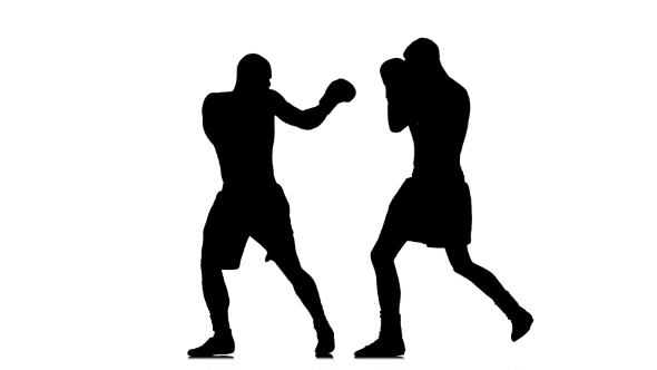 590x332 Non Contact Boxing. Silhouette On White Background By Kinomaster
