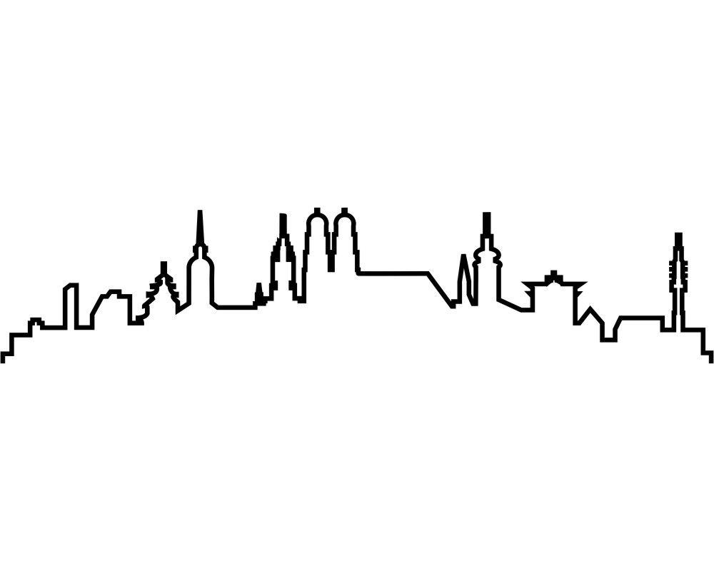 1000x800 Skyline Aufkleber Silhouette Tattoo, Silhouettes