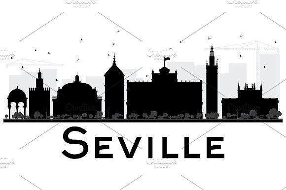 580x386 Seville City Skyline Silhouette Skyline Silhouette And City Skylines