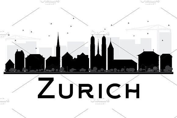 580x386 Zurich City Skyline Silhouette Skyline Silhouette, City Skylines