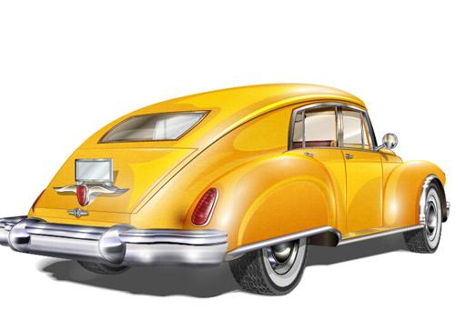 500x352 Luxury Retro Car Vector Illustration 02
