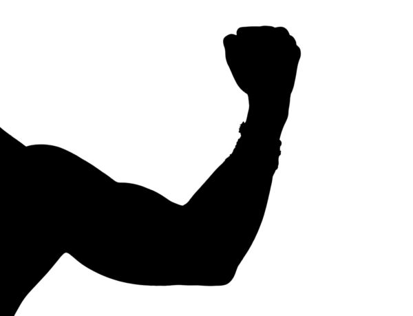600x459 Silhouette Of A Man Flexing His Muscle
