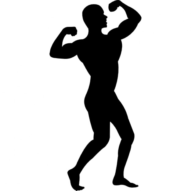 626x626 Man Flexing His Muscles Silhouette Icons Free Download
