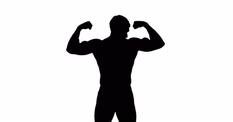 480x252 Muscular Silhouette Of Man Flexing Muscles ~ Video