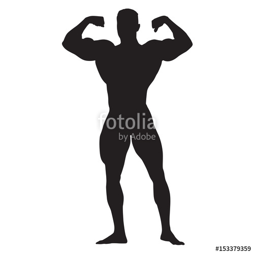 500x500 Posing Bodybuilder Front View, Standing Man With Big Muscles