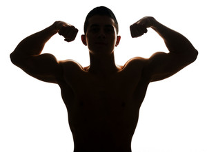 300x221 Silhouette Of A Muscular Man Royalty Free Stock Image