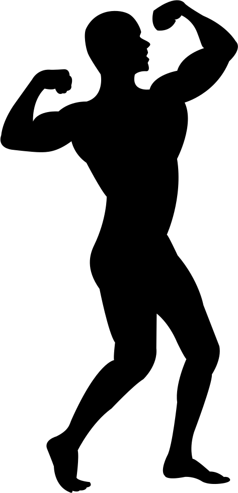 473x981 Man Flexing His Muscles Silhouette Svg Png Icon Free Download