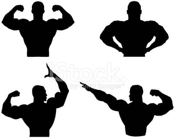 559x440 Musclemen Outlines And Silhouette Stock Vector