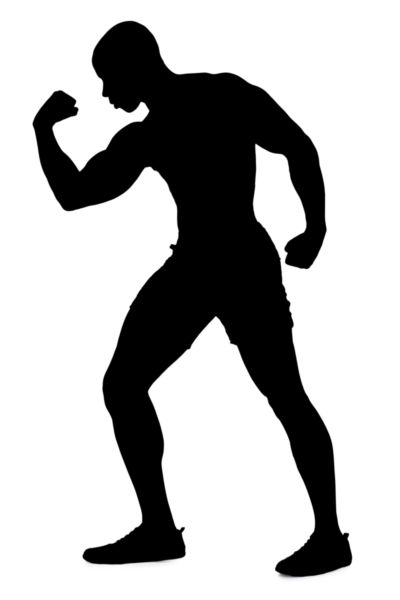 400x600 Silhouette Of A Man Flexing Muscles.