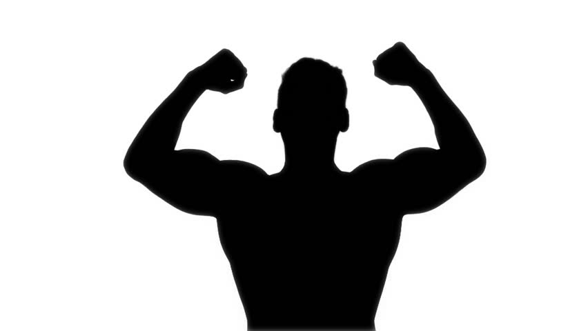 852x480 Boxer Winner Silhouette On White Background. Stock Footage Video