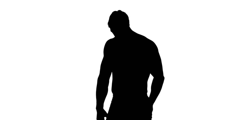 910x480 Muscular Silhouette Of Man Measuring His Waist On White Background
