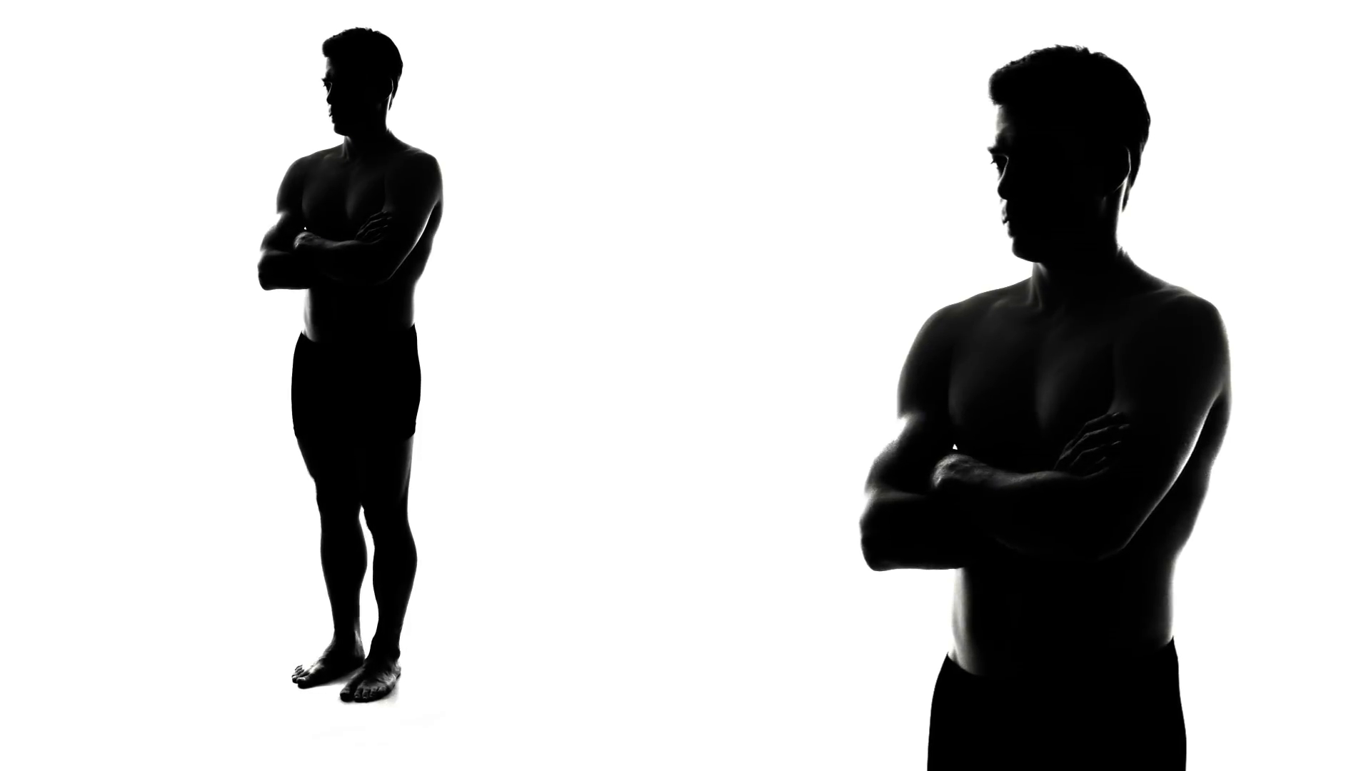 1920x1080 Muscular Silhouette Of Man With Arms Crossed Stock Video Footage